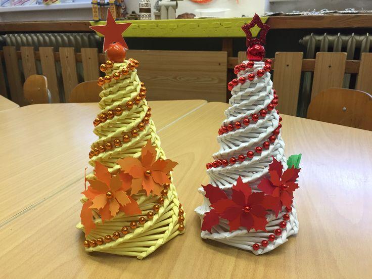Papírové pletení - stromeček - vánoční hvězda