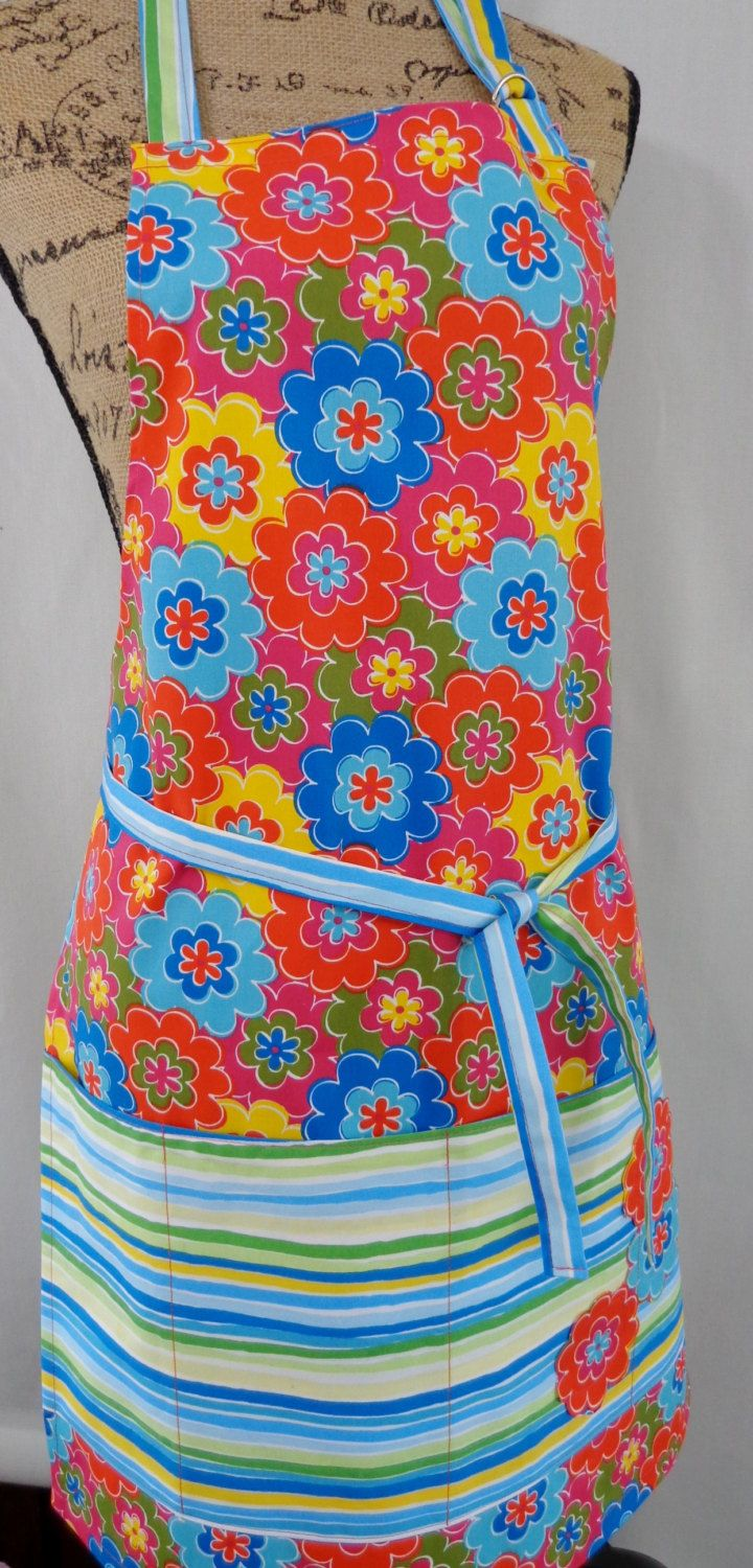 Bright Floral Garden Apron, Vendor Apron, Craft Apron, Teacher Apron, Florist Apron, Full Apron by BAGSbyMartha on Etsy