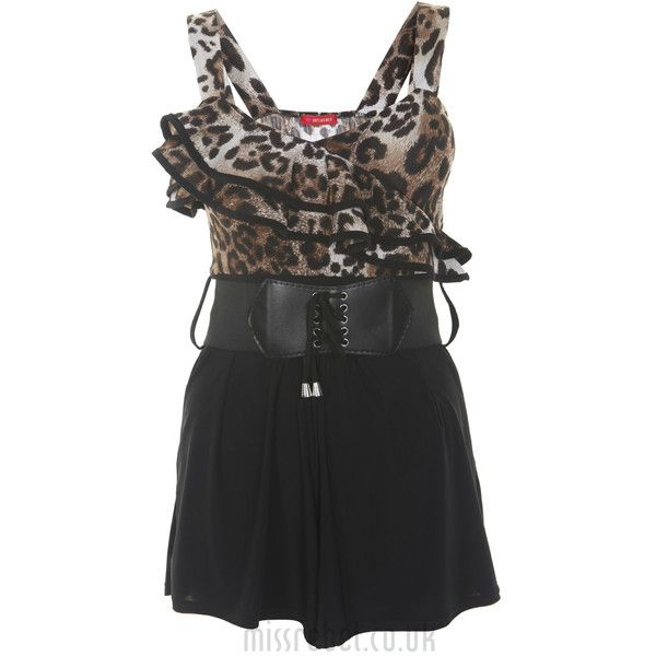 Ruffle Front Animal Print Playsuit. ($23) ❤ liked on Polyvore featuring jumpsuits, rompers, dresses, animal print romper, playsuit romper, romper and jumpsuits and rompers