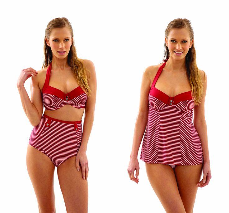 Panache Britt Stripe in red, tankini, halter bikini, high waist and fold bottoms