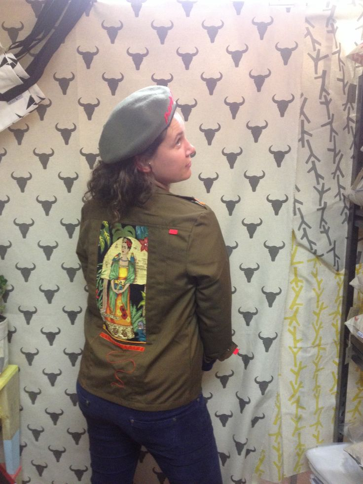 Salome with a Frida military shirt on