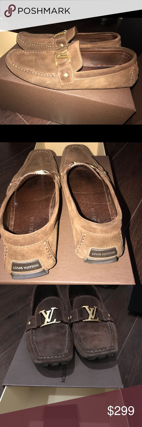 Louis Vuitton suede loafers Brown suede and gold buckle size 10.5 good condition Louis Vuitton Shoes Loafers & Slip-Ons