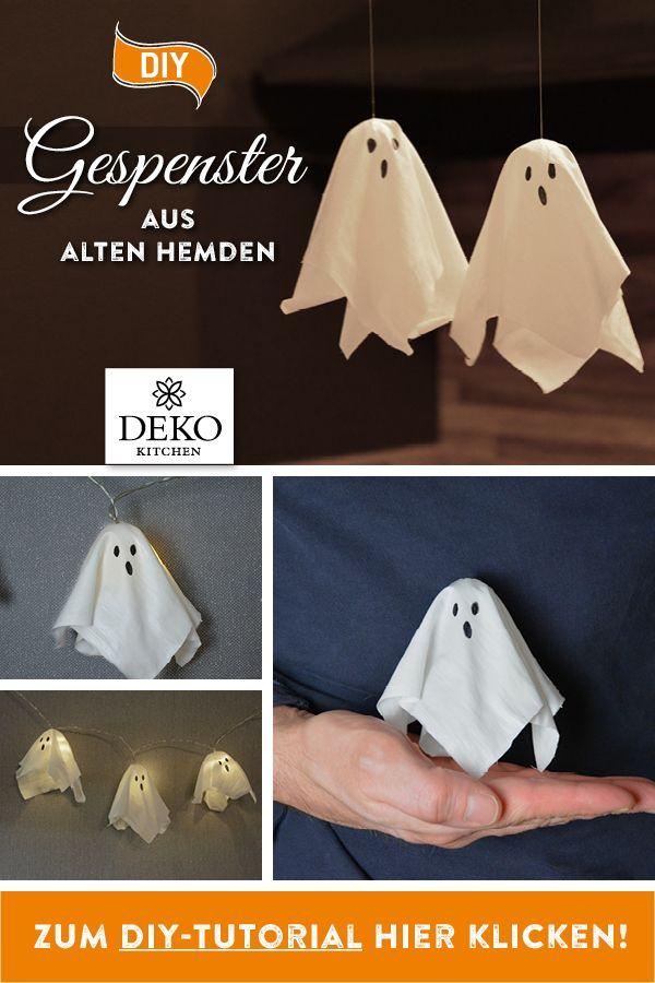 DIY: süße Halloween-Gespenster aus alten Hemden selbermachen