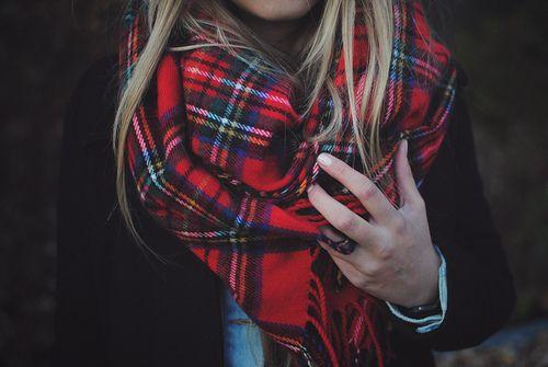 Red tartan scarf fashion girl autumn style scarf
