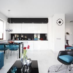 Biało-czarna kuchnia z salonem