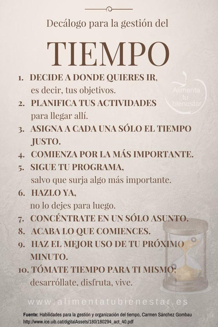 ^^ Decálogo para la gestión del tiempo #alimentatubienestar :)