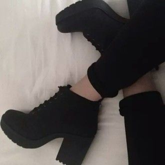 shoes black boots boots all black everything booties platform boots cute shoes c...