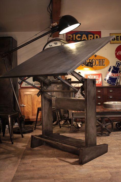 Meuble industriel ancienne table  dessin Deco loft