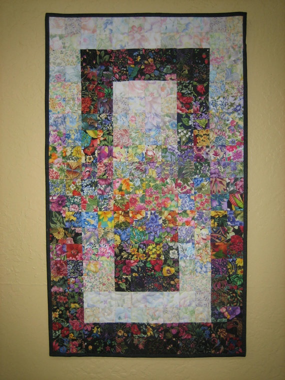 Small Window Garden Art Quilt Wall Hanging via Etsy