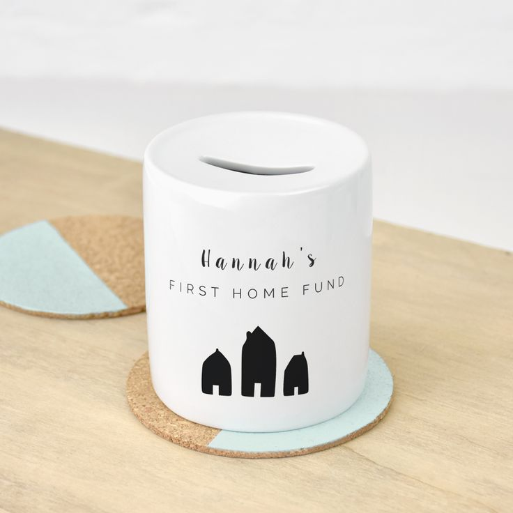 A Personalised First Home Money Box, featuring your chosen name or names. Personalised and non-personalised jewellery and gifts by Ellie Ellie.