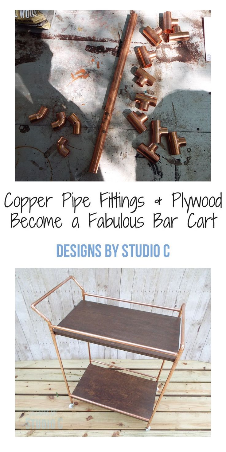 A few copper fittings with pipe and plywood become a fabulous bar cart for entertaining or as a display piece in the home! This project can be completed in a matter of hours, and can also be constructed out of PVC pipe for a less expensive alternative!