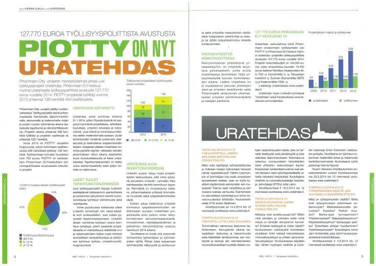 """""""PIOTTY on nyt Uratehdas"""" artikkeli Insussa 01/2014."""
