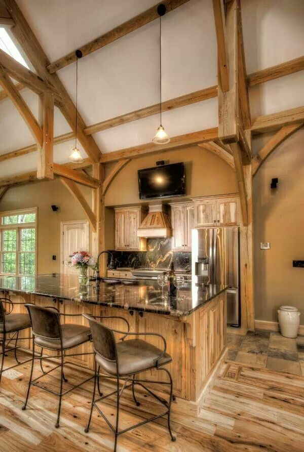 The Timber Frame Takes Center Stage In This Kitchen.
