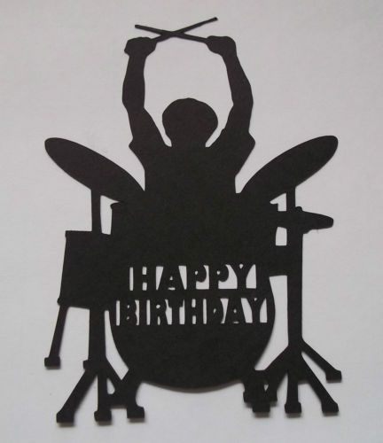 Silhouette Rock Drummer Happy Birthday