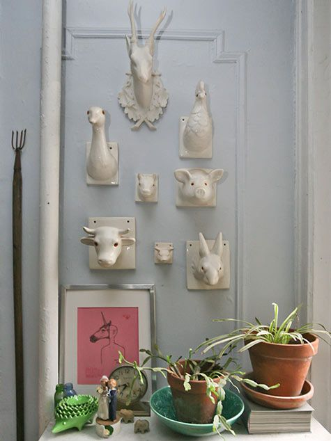 this person really cornered the market on attractive white animal heads: Animal Head Home Decor, Animal Faces, Decor Touch, Ceramics Animal Head, Design Ideas, Apartment Inspiration, Art Ceramics, Porcelain Animal Head, Ceramics Inspiration