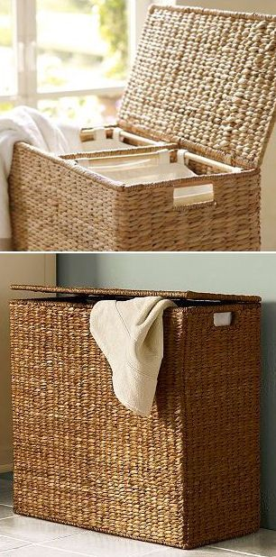 Seagrass Laundry Sorter // has 3 removable canvas bags to make sorting & organizing easy.