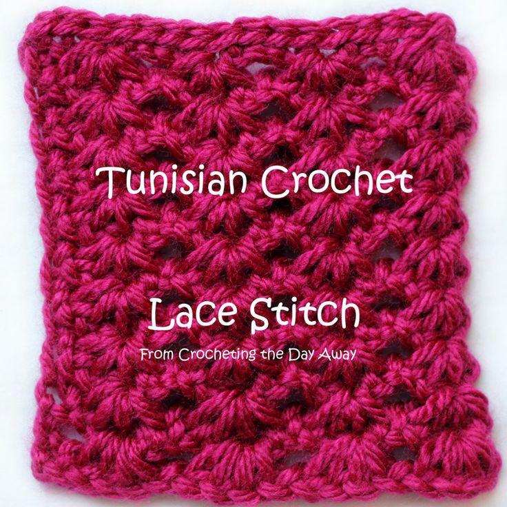 Tunisian Crochet Lace Stitch found at: http://www.bloglovin.com/frame?post=2155892557&group=0&frame_type=a&blog=2755787&link=aHR0cDovL2Nyb2NoZXRpbmd0aGVkYXlhd2F5LmJsb2dzcG90LmNvbS8yMDE0LzAxL3Byb2plY3RzLW9mLTIwMTMuaHRtbA&frame=1&click=0&user=0