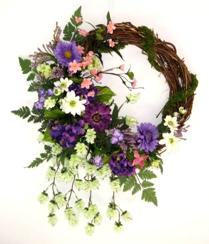 Superior Pink, Purple, And White, Silk Floral Wreath, Spring Wreath, Springtime  Wreath · Front Door ...