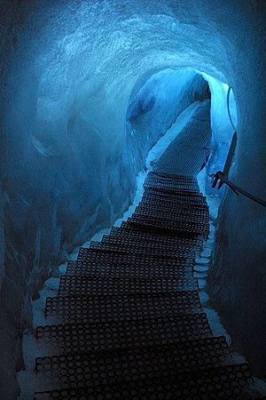 Eishöhle, Dachstein, Austria- I like the crystal blue color in this photo. I especially like how the color surrounds the tunnel.