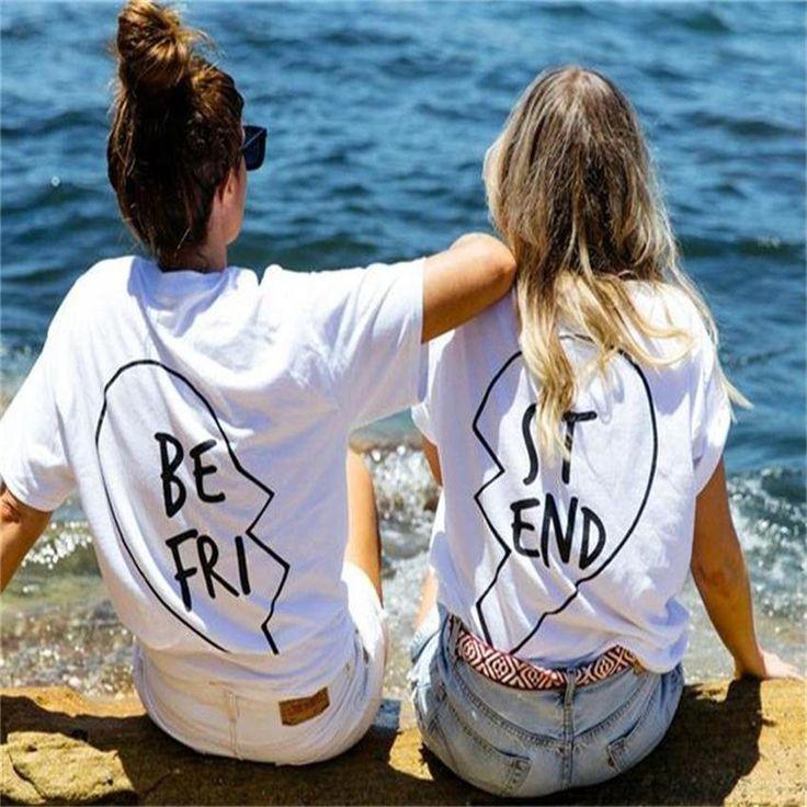 2016 mujeres del verano la camiseta del mejor amigo letra de la impresión camisas de la camiseta de manga corta Casual Tops Brand Plus Negro Blanco DP981249 /