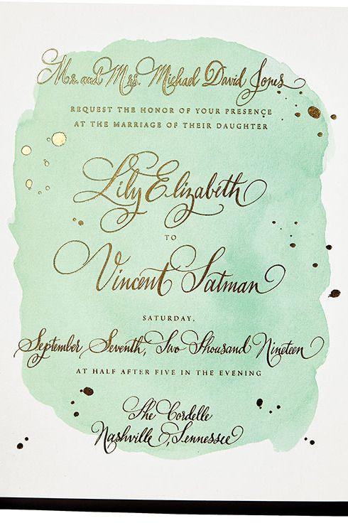 "Mint Is the New Black for Wedding Invitations -- Chelsea Petaja for Bella Figura ""Vincent"""