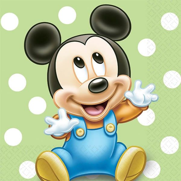 Mickey Mouse 1st Birthday Party Napkins (Small)