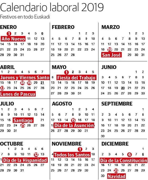 Calendario 2020 Pais Vasco.Calendario Laboral 2019 Festivos Y Puentes En Euskadi