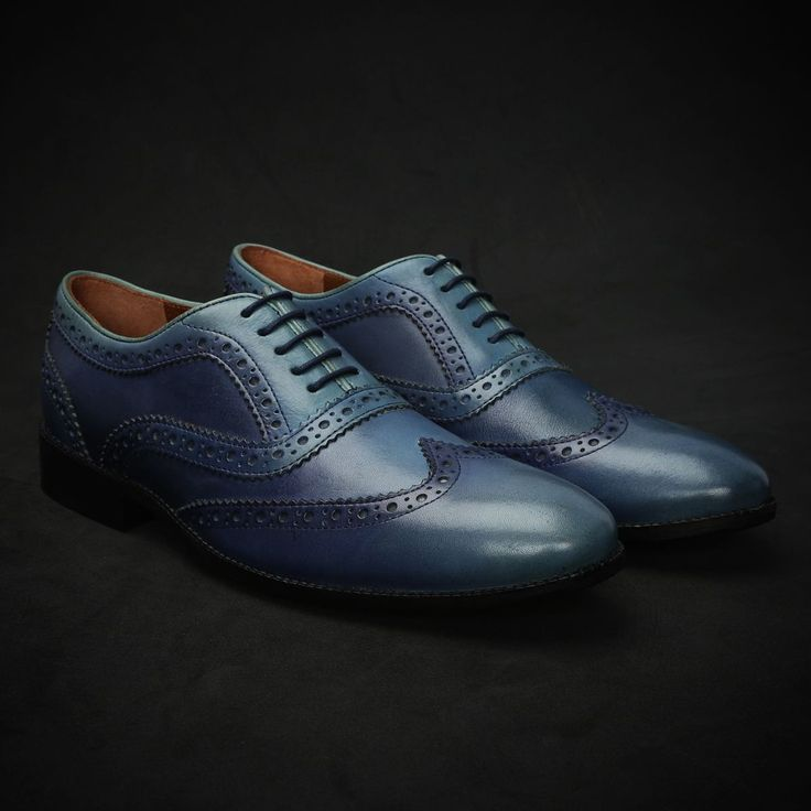 BUY BLUE DUAL SHADE HAND PAINTED LEATHER BROGUE SHOE FOR MEN ONLINE