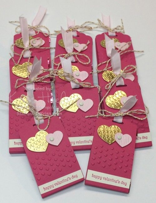 Are you looking for one last idea for Valentine's Day?  Here's the perfect little chocolate gift decorated Stampin' Up! style!  Allyou need is the Scalloped Tag Topper Punch. Begin with card stock tha