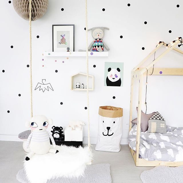 Scattered Polka Dots in a black, white and grey room