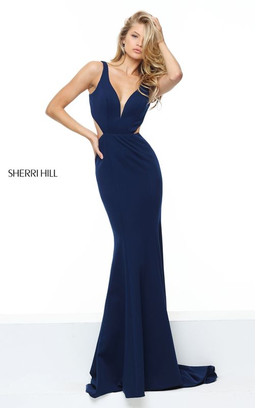 Fitted Illusion Navy Sherri Hill 50753 Sexy Long Prom Dress