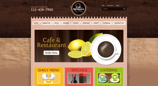 CAFÉ AND RESTAURANT TEMPLATE  This template incorporates a grunge style that will draw your eyes instantly. It is very stylish and warm. The scheme is well designed and organized which is easy for editing.  It uses a 960 pixel grid system and can also be used for other niches.