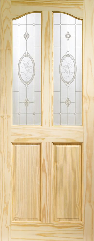 Rio Internal Clear Pine Door with Crystal Rose Glass Flat Image