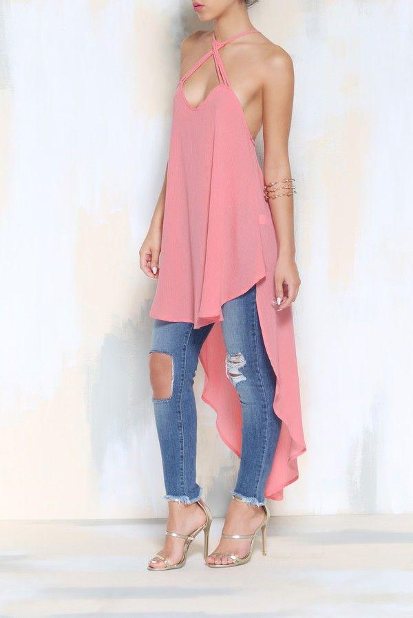 Damen Vokuhila Kreutzträger Shirt Pink