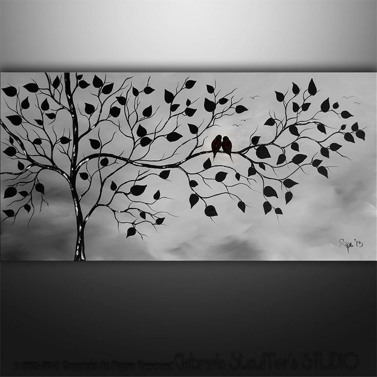 Abstract Landscape Tree Birds Painting Modern Art by by Catalin, $199.00