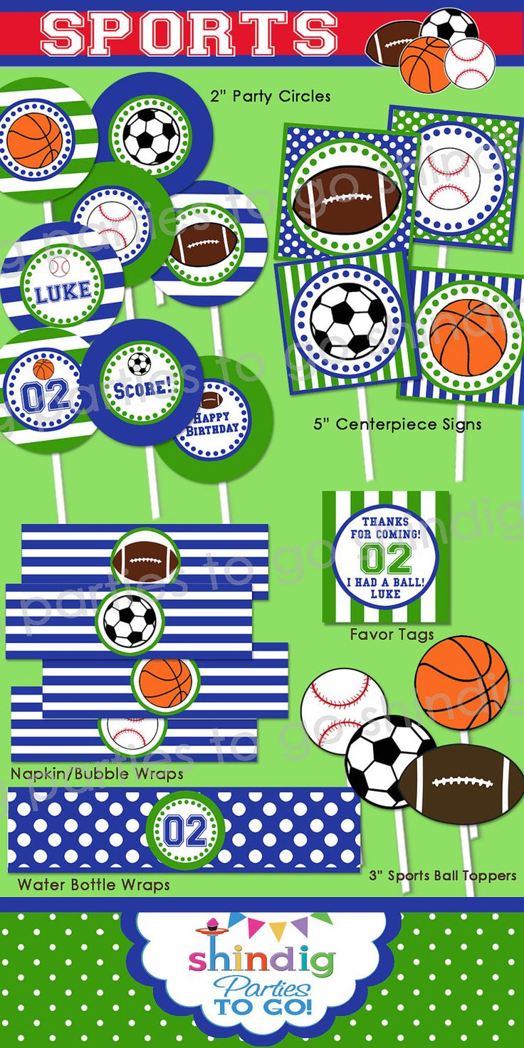 Sports Birthday Party Printable - Football, Baseball, Soccer, Basketball by Amanda's Parties TO GO. $29.00, via Etsy.