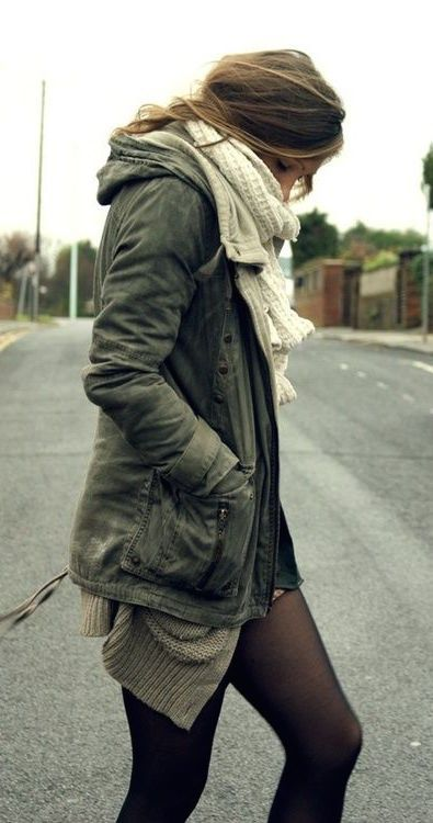 #fall #fashion / olive green + knit layers I could pull this off!