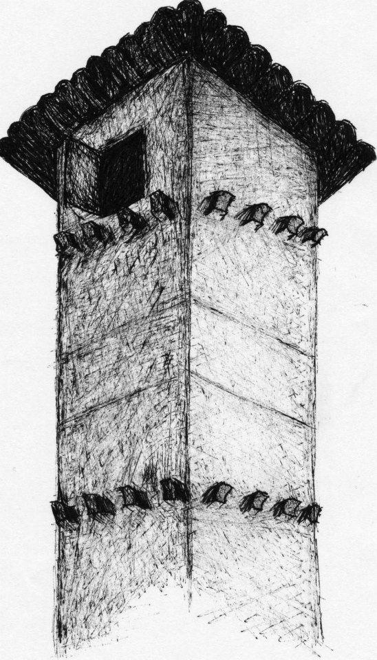 dibujo, blanco y negro, tinta, torre