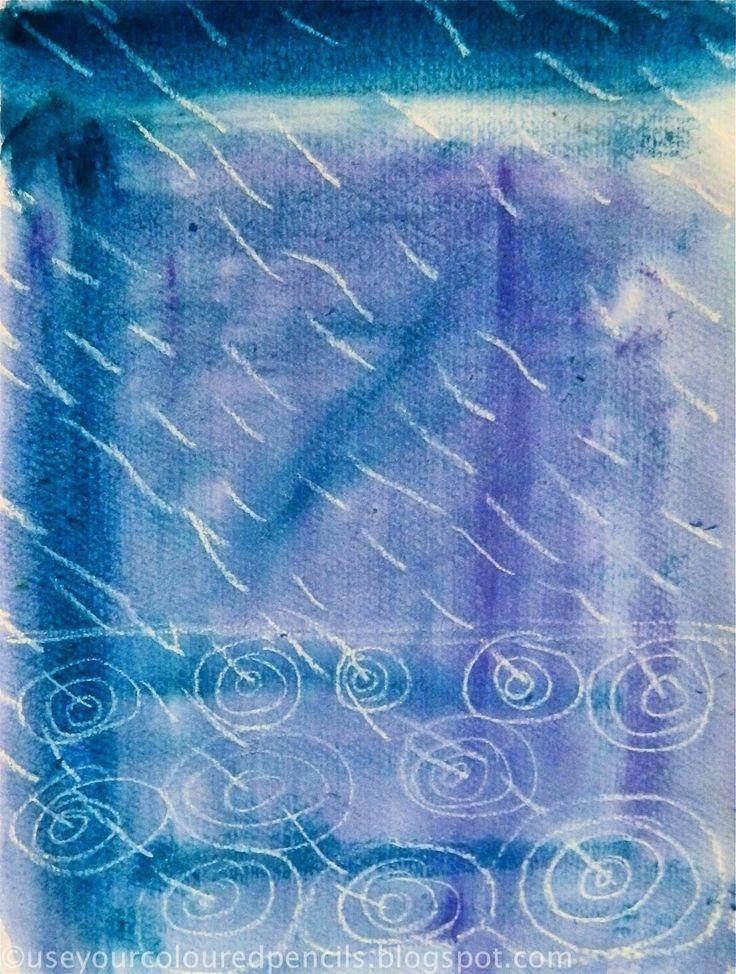 Graphisme pluie- Cercles concentriques, traits obliques- Aquarelle et craie blanche
