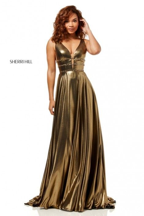 0878a219b0 Style 52421 from Sherri Hill is a metallic sleeveless prom gown with a deep V  neck