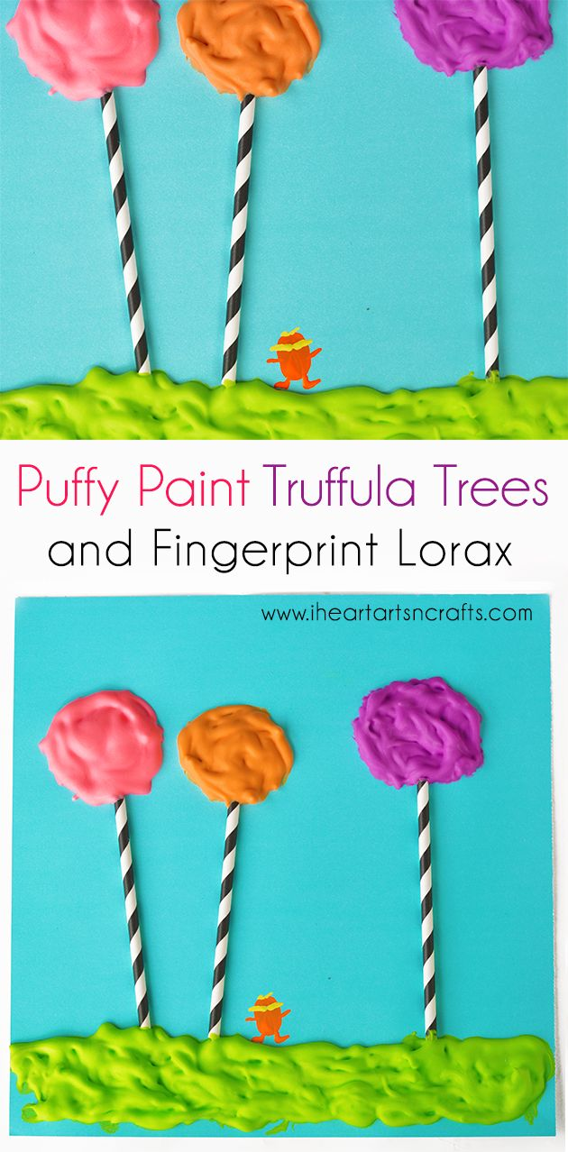 Puffy paint designs - Puffy Paint Dr Seuss Craft With Fingerprint Lorax