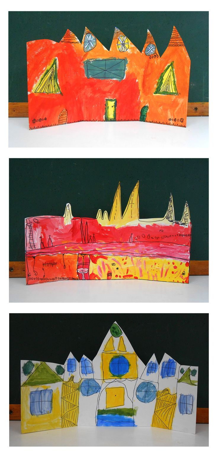Warm and Cool houses. Cut and folded cardboard painted with black pen features. Investigation of cool and warm colours, pattern and artist Howard Arkley. Year 1