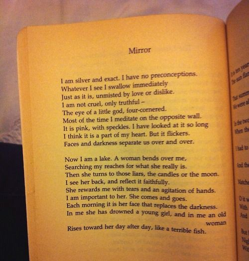 analysis of mirror by sylvia plath essays Essay about mirror by sylvia plath, analysisthe use of personification and metaphor in 'mirror' in the poem 'mirror' by sylvia plath, there is a continuing theme of change.