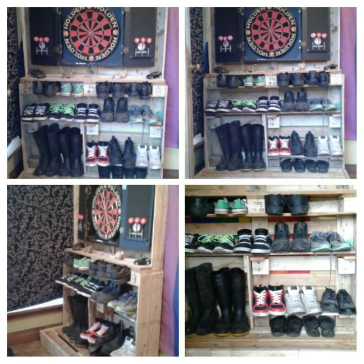 Shoe rack part two, added framed in dart board all made from pallets