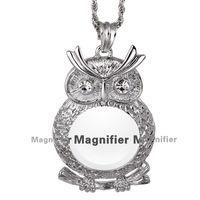 Mulheres óculos de leitura 2015 nova lupa colar coruja moda feminina pingente ródio com cristal Magnifier colar