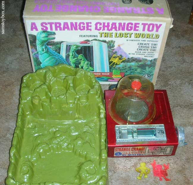 Mattel's Strange Change Machine - Lost World- My brother Mike had this toy. It was my favorite! Plastic squares were heated up and became dinosaurs.