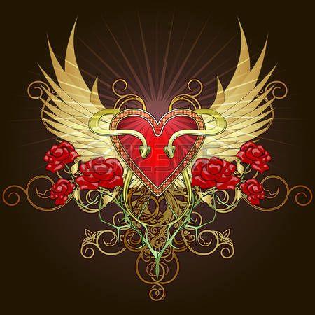 紋章学 バラ: ハート形の盾、2 つのヘビやタトゥー スケッチ スタイルで描かれた黄金の翼に対してバラと紋章 イラスト・ベクター素材