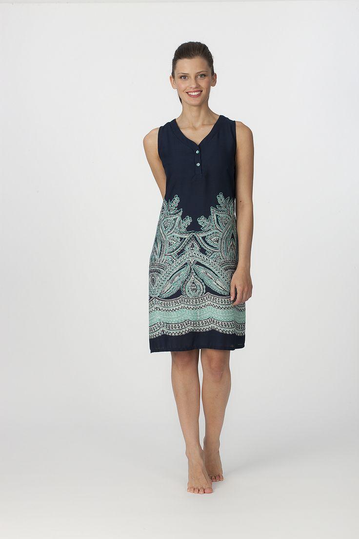 Vestido tirantes Egatex modelo Divine Marino. Vestido en azul marino con estampación en turquesa. Composición: 100%  viscosa http://www.perfumeriaelajuar.com/homewear/vestido-mujer--verano/34/