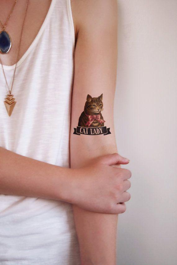 The cat lady temporary tattoo от Tattoorary на Etsy