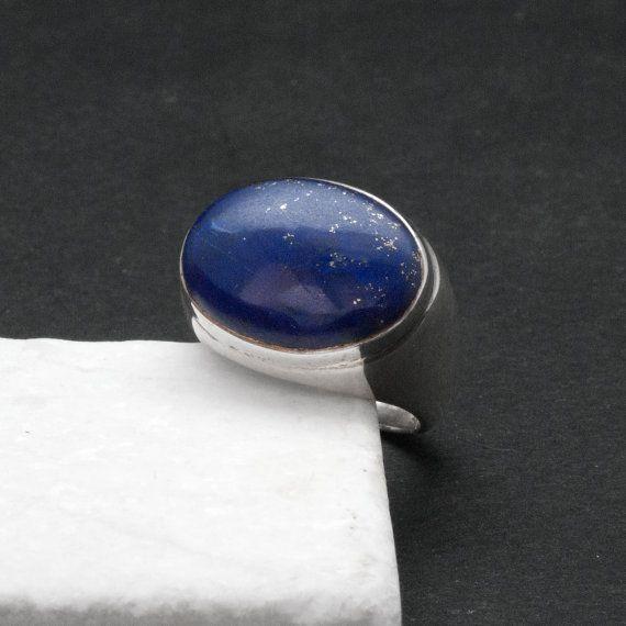 Lapis Lazuli Ring Big Blue Gemstone Sterling by SunSanJewelry